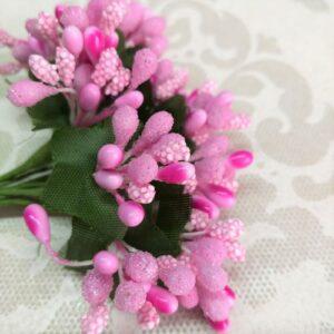 Букет декоративных веточек розовых для скрапа.