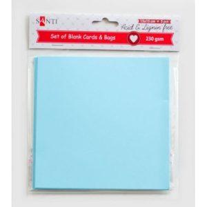 Набор голубых заготовок для открыток, 15*15 см, 230 г/м2, 5 шт.