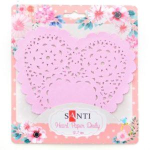 Набор салфеток ажурных в форме сердца, розовый, 12,7 см, 12 шт.