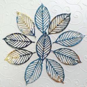Вырубка листья синие с золотом.