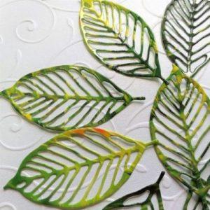 набор зеленых листьев для скрапа.