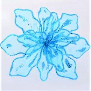 """Цветок пуансеттии """"Королевский"""" полупрозрачный голубой, 28*28 см."""