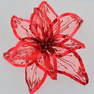 """Цветок пуансеттии """"Роскошь"""" полупрозрачный красный, 23*23 см."""