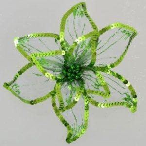"""Цветок пуансеттии """"Роскошь"""" полупрозрачный зеленый, 23*23 см."""