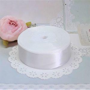 Лента атласная белая молочная, 2.5 см.