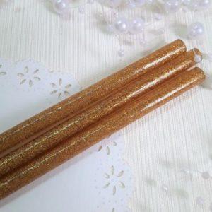 Клей силиконовый стержень с золотым глиттером, 7 мм, 19 см.