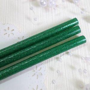 Клей силиконовый с зеленым глиттером, 7 мм, 19 см.