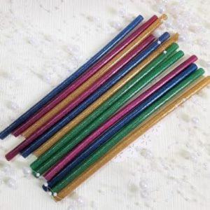 Набор клея силиконового с глиттером, 7 мм, 19 см, 12 шт.