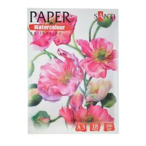 """Набор аквар. бумаги SANTI """"Floristics"""", А3, 18 л, 200 г/м2."""
