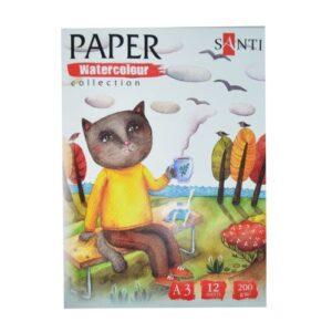 "Набор аквар. бумаги SANTI ""Wonderland"", А3, 12 л., 200 г/м2."