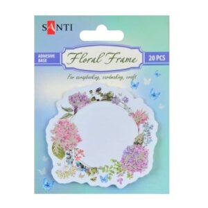 """Набор бумажных наклеек """"Floral frame"""", фольгированных, 20 шт."""