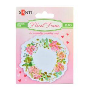 """Набор бумажных наклеек """"Floral frame"""", фольгированных, 75 мм, 20 шт."""