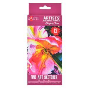 """Набор художественных цветных карандашей """"Santi Highly Pro"""", 12 штук."""