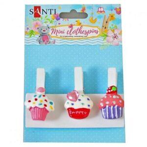 "Набор прищепок декоративных ""Delicious cupcakes"", 4,5 см, 3 шт./уп."