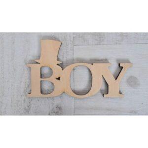 Надпись из фанеры BOY, 17.5*9.5 см.
