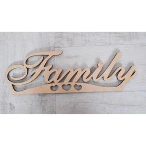 Надпись из фанеры Family, 33*10.5 см.