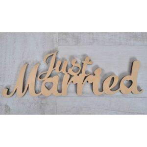 Надпись из фанеры Just married, 31*10 см.