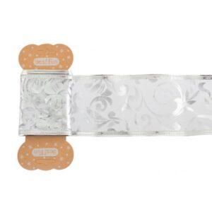 Лента декоративная 6 см*2 м, серебряная, с узором, полупрозрачная.