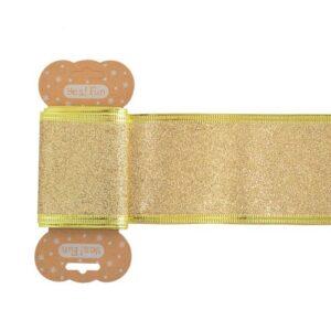 Лента декоративная 6 см*2 м, золотая глиттерная.