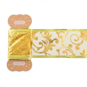 Лента декоративная 6 см*2 м, золотая, с узором, полупрозрачная.