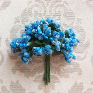 Букет декоративных веточек голубых для скрапа.