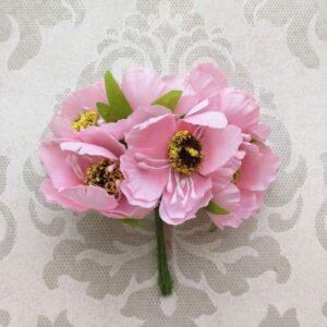 Букетик цветов розового мака, 6 шт.