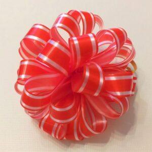 Бант подарочный красный с белым, 14 см.