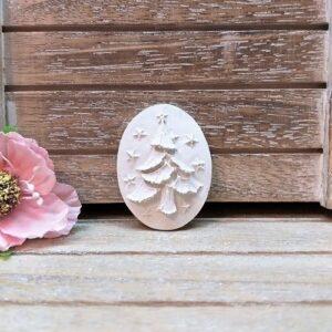 Камея новогодняя Елочка, гипс, 2,8*3,8 см.