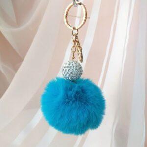 Брелок - помпон со стразами, меховый, голубой, золотая фурнитура.