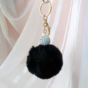 Брелок - помпон со стразами, меховый, черный, золотая фурнитура.