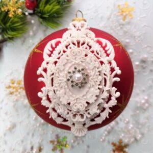 Гибкий комплект Ажурная рамка + Барокко + сеттинг с декором Снежинка серебристая с жемчужинкой.
