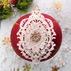 Гибкий комплект Ажурная рамка + Барокко + сеттинг с декором Снежинка со стразами.