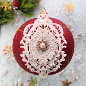 Гибкий комплект Ажурная рамка + Барокко + сеттинг с декором Снежинка золотистая с жемчужиной.