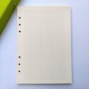 Блок бумаги для планера А5 с 6 отверстиями, цвет кремовый, клетка.