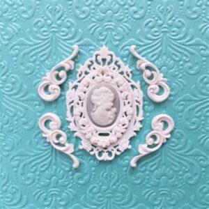 Комплект гибкий рамка Барокко + Морозная-мини с камеей и завитками Ажур.