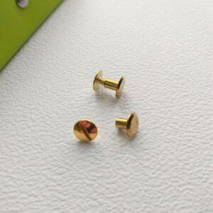 Винт золото, 6 мм, пара.
